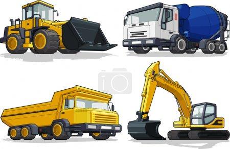 Maszyny budowlane - spychacz, cementu ciężarówek, ciężarówek zaciągu & koparka