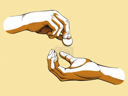Hands Giving & Receiving Money (colored version)
