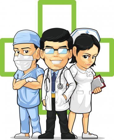 Illustration for A vector set of doctor, nurse and surgeon. Drawn in cartoon style, this vector is very good for design that need health care element or mascot. Available as a Vector in EPS8 format that can be scaled to any size without loss of quality. - Royalty Free Image