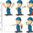 A vector set of a male repairman in several poses....