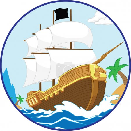Illustration pour Un vecteur d'un bateau pirate naviguant sur un rivage. Disponible en tant que vecteur au format EPS8 qui peut être adapté à n'importe quelle taille sans perte de qualité. Les éléments graphiques sont tous peuvent facilement être déplacés ou modifiés individuellement . - image libre de droit