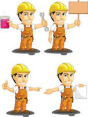 A vector set of a male construction worker in several poses Drawn in cartoon style this vector is very good for design that need construction site element in cute funny colorful and cheerful style