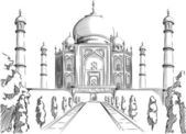 A vector image of an architectural landmark of India: Taj Mahal This vector is very good for design that needs India's landmark or travel element