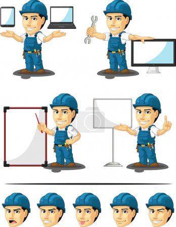 Illustration for A vector set of a male repairman in several poses. Drawn in cartoon style, this vector is very good for design that need technician or repairman element in cute, funny, colorful and cheerful style. - Royalty Free Image