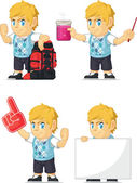 A vector set of a blonde boy in several poses Drawn in cartoon style this vector is very good for design that need children element in cute funny colorful and cheerful style