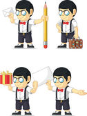 A vector set of a nerdy boy in several poses Drawn in cartoon style this vector is very good for design that need children element in cute funny colorful and cheerful style