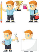 A vector set of a redhead boy in several poses Drawn in cartoon style this vector is very good for design that need children element in cute funny colorful and cheerful style