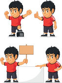 A vector set of a soccer boy in several poses Drawn in cartoon style this vector is very good for design that need children element in cute funny colorful and cheerful style