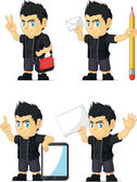 A vector set of a rocker boy in several poses Drawn in cartoon style this vector is very good for design that need children element in cute funny colorful and cheerful style