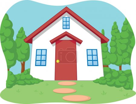 Cartoon of Cute Little House with Garden