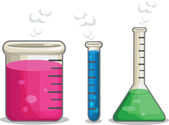 A vector set of several chemical flasks Drawn in cartoon style this vector is very good for design that need chemistry element in cute funny colorful and cheerful style