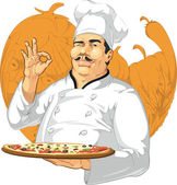 A vector image of a chef holding a pan of pizza Drawn in sketch style this vector is very good for design that need food element in unique style