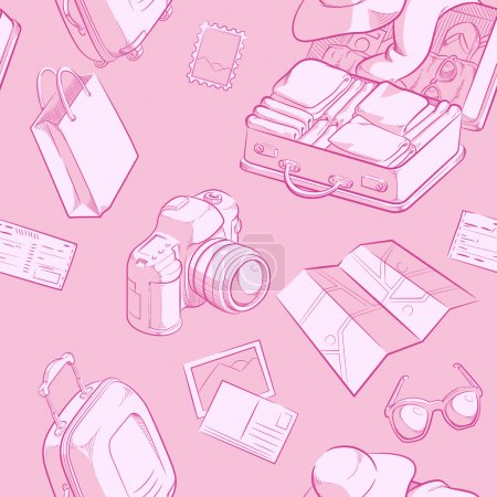 Illustration for A vector seamless pattern of travel objects such as suitcase, ticket, sunglasses, etc. Drawn in sketch style, this vector is very good for design that need travel element in unique style. - Royalty Free Image