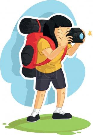 Backpacker Girl Taking Photo