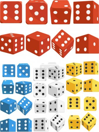 Dice in Several Positions and Colors