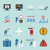 airport icons set design