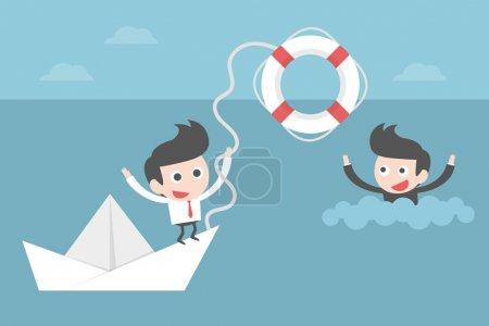 Illustration pour Homme d'affaires aidant ami, concept dessin animé . - image libre de droit