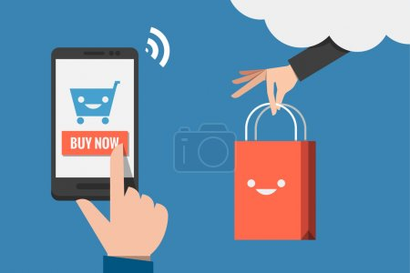 Illustration for Mobile shopping flat design - Royalty Free Image