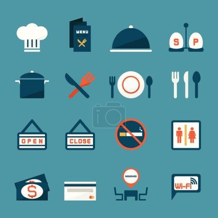 Illustration pour Icônes de restaurant, vecteur - image libre de droit