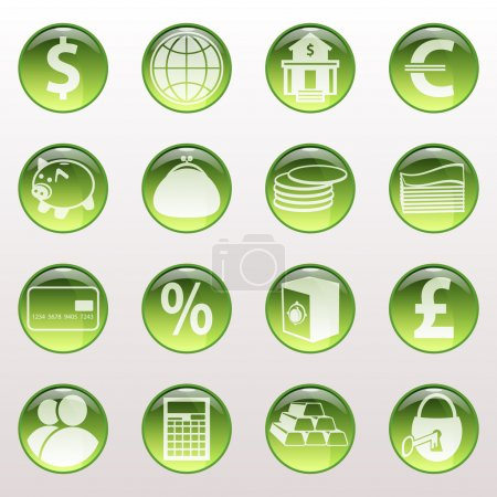 Set of icons of green color on a subject bank.
