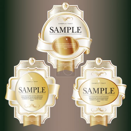 Set of white ornate labels with Gold Tapes.