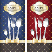 Two variants Royal restaurant menu design on blue and on red background with gold bows