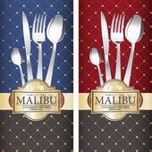 Two variants Royal restaurant menu design on blue and on red background