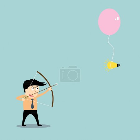 businessman aiming at idea with bow and arrow