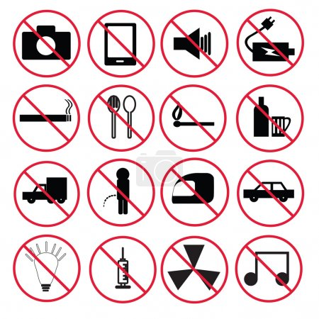 Illustration for Prohibition signs set - Royalty Free Image
