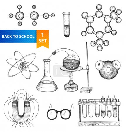 Photo for Science set. Sketch chemistry elements. Back to school. Hand-drawn vector illustration. - Royalty Free Image