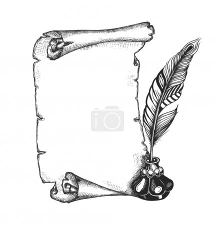 Paper scroll, feather and inkwell