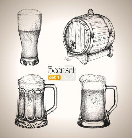Beer Oktoberfest set: foamy beer in Toby jugs and ...