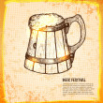 Ale in mug. Foamy beer in big wooden Toby jug. Vec...