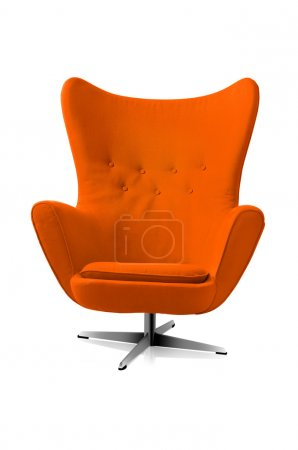 Photo pour Chaise orange style moderne isolé fond blanc. - image libre de droit