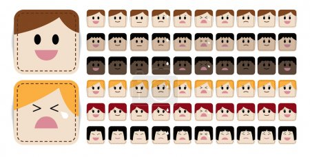 Illustration for Variety of simple and cute cartoon face in different expressions and races - Royalty Free Image