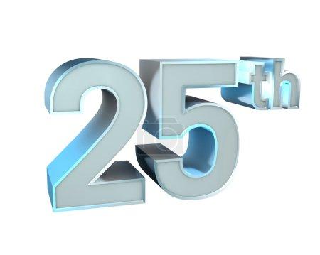 Photo pour Illustration 3D de la collection Silver ABC Character Design. 25e anniversaire . - image libre de droit