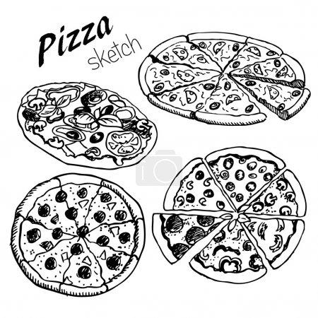 Illustration pour Pizza noyée à la main sur fond isolé - image libre de droit