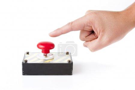 Photo pour Bouton panique rouge sur fond blanc - image libre de droit