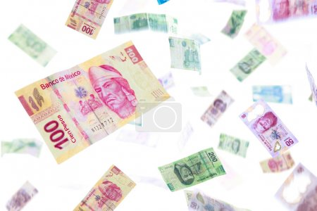 Mexican currency isolated on white