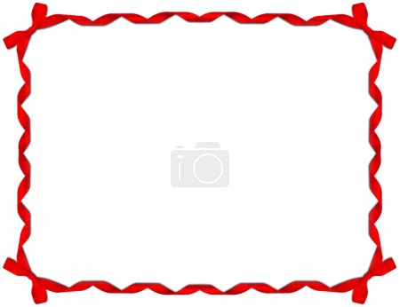 Photo for Red Ribbon Frame with Bow on white background - Royalty Free Image