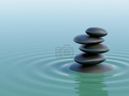 Zen stones in the ocean with waves