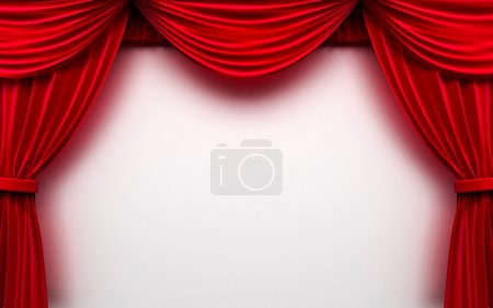 Red curtain frame on white background