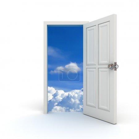 Photo pour Blanc porte ouverte vers le ciel sur fond blanc - image libre de droit