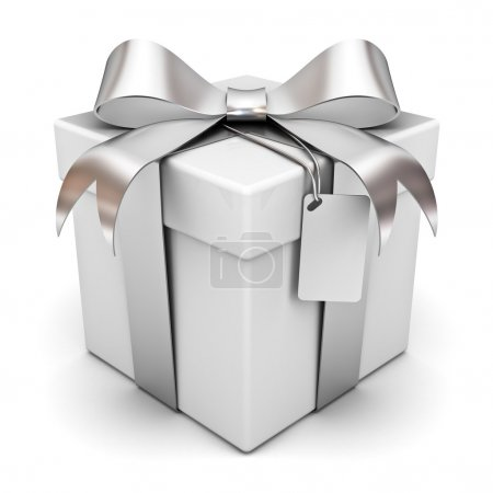 Photo for Gift box with silver ribbon bow and blank tag isolated on white background - Royalty Free Image