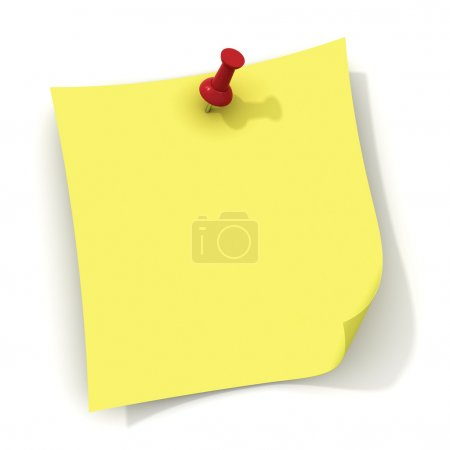 Yellow note and red push pin isolated over white background