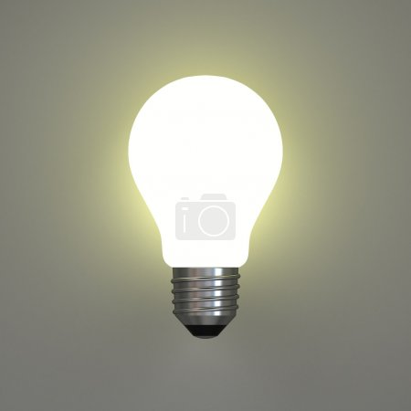 Photo for Lit light bulb on gray background - Royalty Free Image