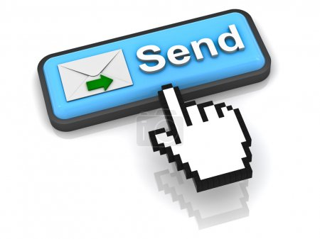 Photo for Send e mail button concept on white background with reflection - Royalty Free Image