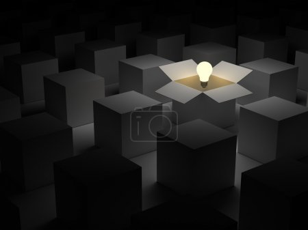Photo for Think out of the box or thinking outside the box and Individuality concept, one glowing light bulb float over opened cardboard box in the dark - Royalty Free Image