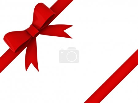 Red gift ribbon bow isolated over white background