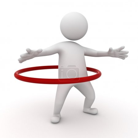 3d man playing hula hoop exercise on white background